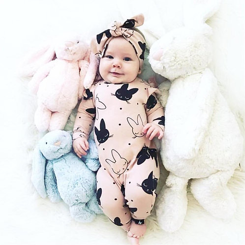 2Pcs Baby Girls Romper Rabbit Pattern Cotton Long Sleeve Jumpsuit+Headband