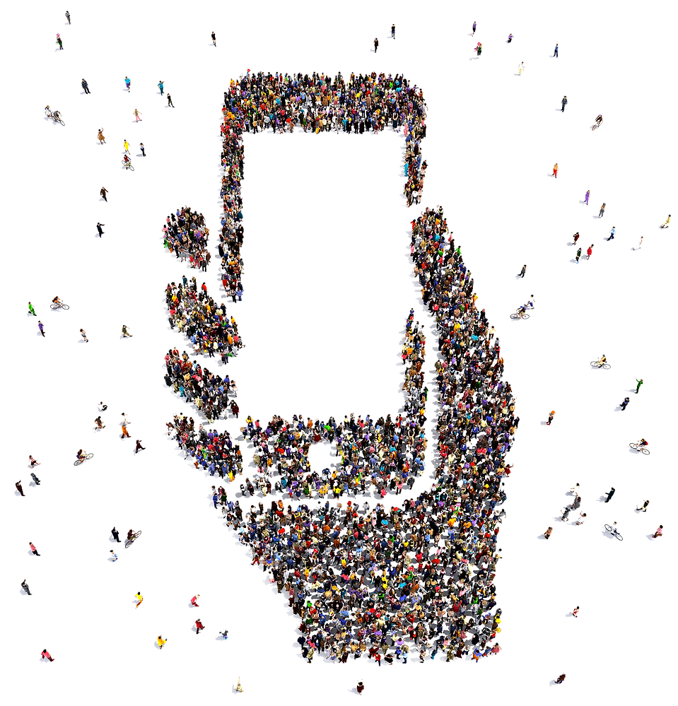 people outline a mobile phone