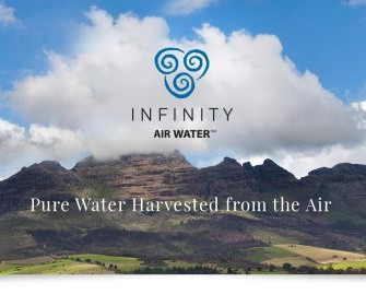 INFINITY: NEW BOTTLED WATER HARVESTED FROM THE AIR.