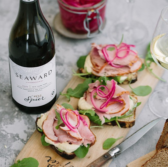 Spier Seaward Chardonnay served with roasted pork sandwiches - The sandwich for all occasions.