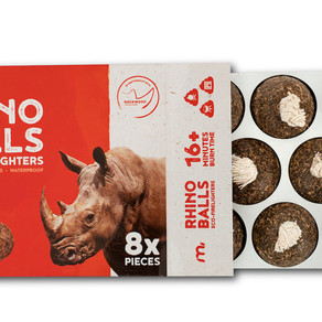 SAVE THE RHINO ONE FIRE AT A TIME, WITH MEGAMASTER'S RHINO BALLS,  ECO-FIRELIGHTERS.