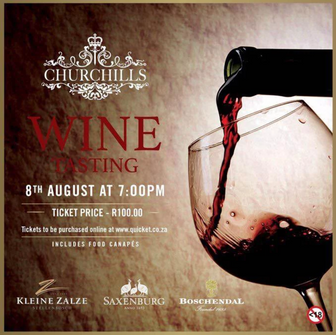 Exclusive Wine Tasting at Churchills Bar - Melrose Arch.