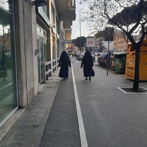 Nuns minding the distance