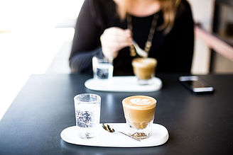 Cappuccino and caffe latte at Italian cafe