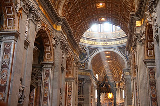Sunbeams on altar in St. Peter's Basilica, Rome, Italy, Vatican City.