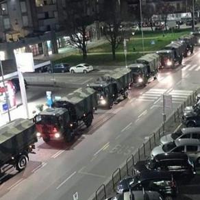 Military trucks take away bodies in Italy