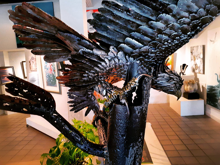 American Bald Eagle Sculpture LIFE SIZE Recycled Pipe Art
