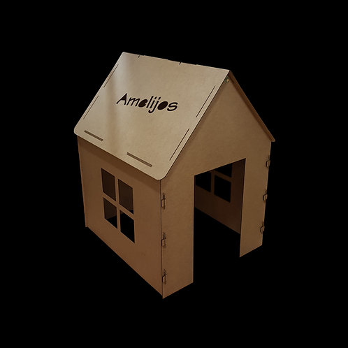Pressed wood fiber playhouse for children