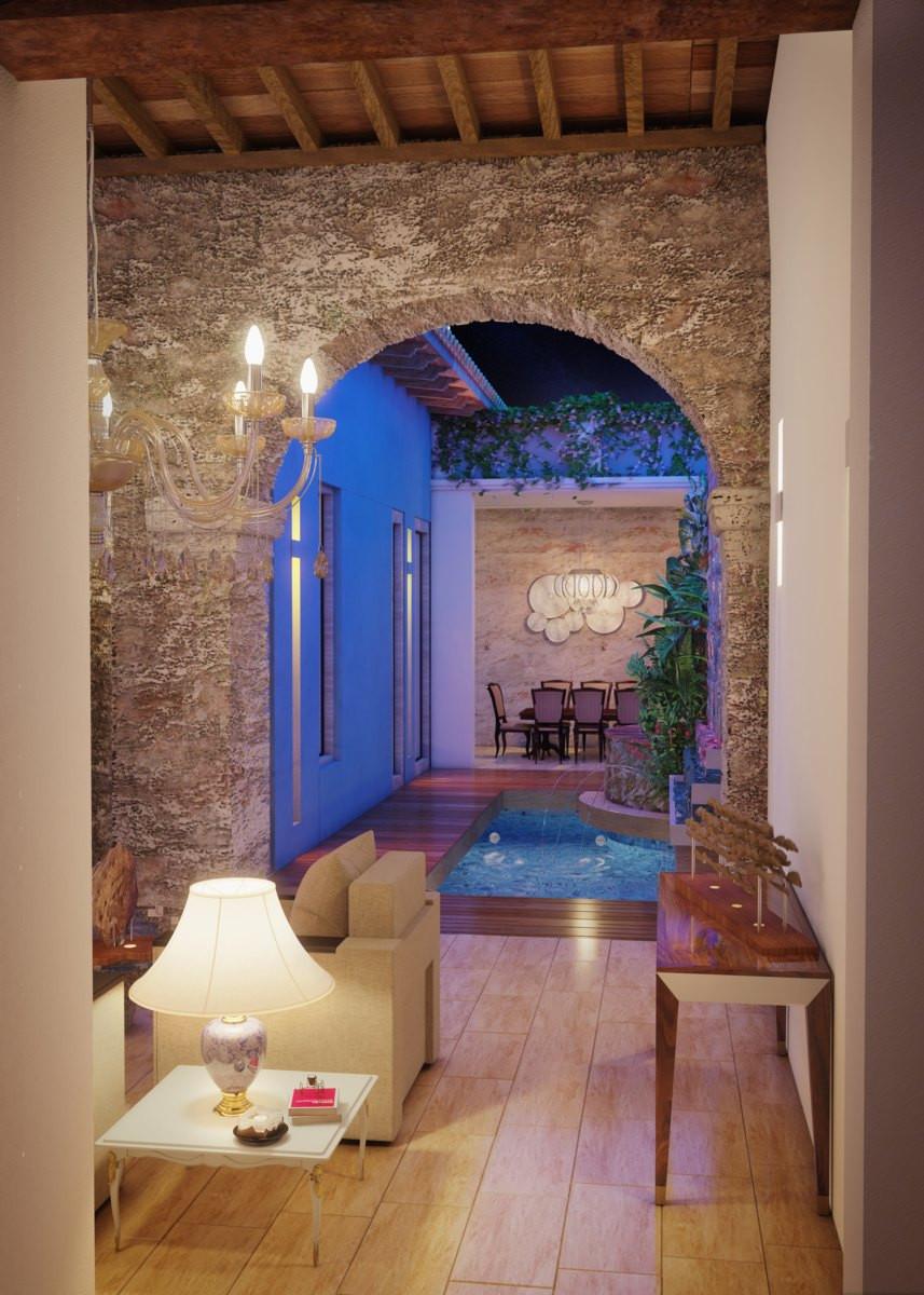 Render 3D nocturno Casa Colonial Cartagena de Indias