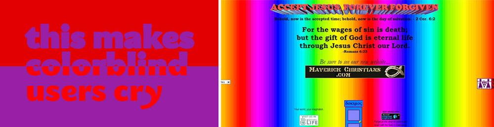 Mal Uso del color en diseño gráfico