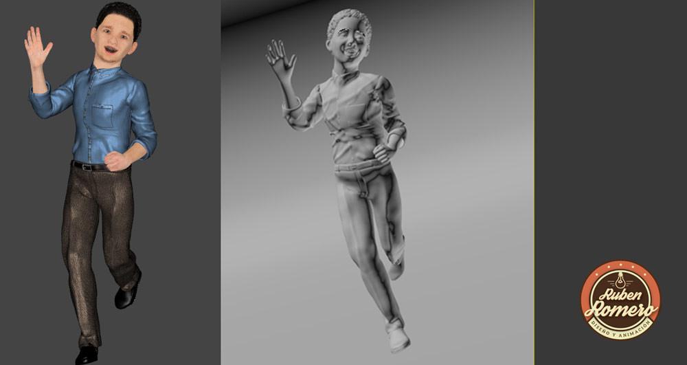 Composición de personaje 3D para animación y render en Cartagena