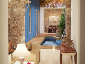Vista interna 3D de casa colonial
