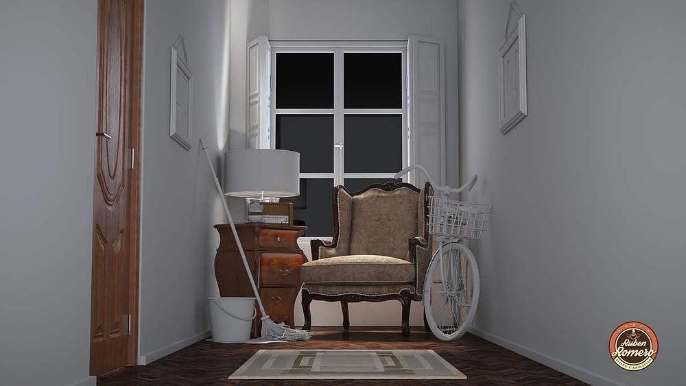 Aplicando materiales fotorrealistas a los objetos en la escena casa en las montañas render realista realizado por Ruben Romero Diseño y Animacion