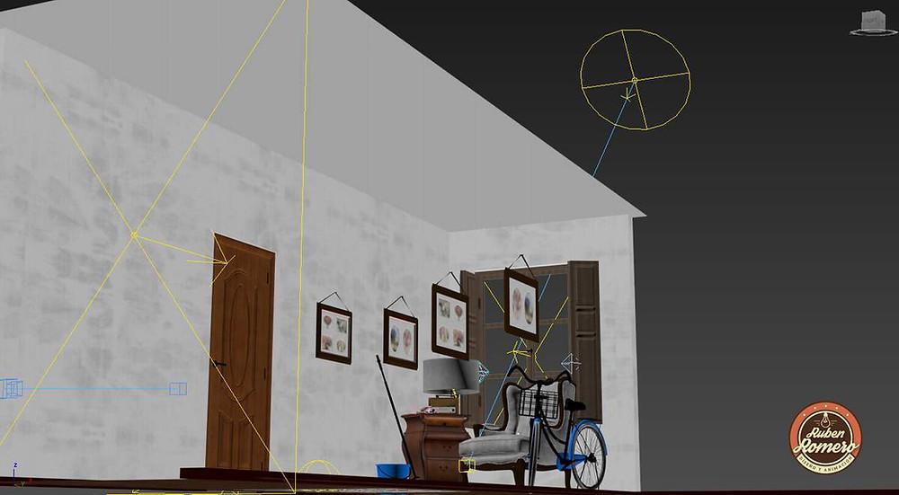 Ubicando las luces en escenario Casa en las montañas render fotorrealista por Ruben Romero DIseño y Animacion