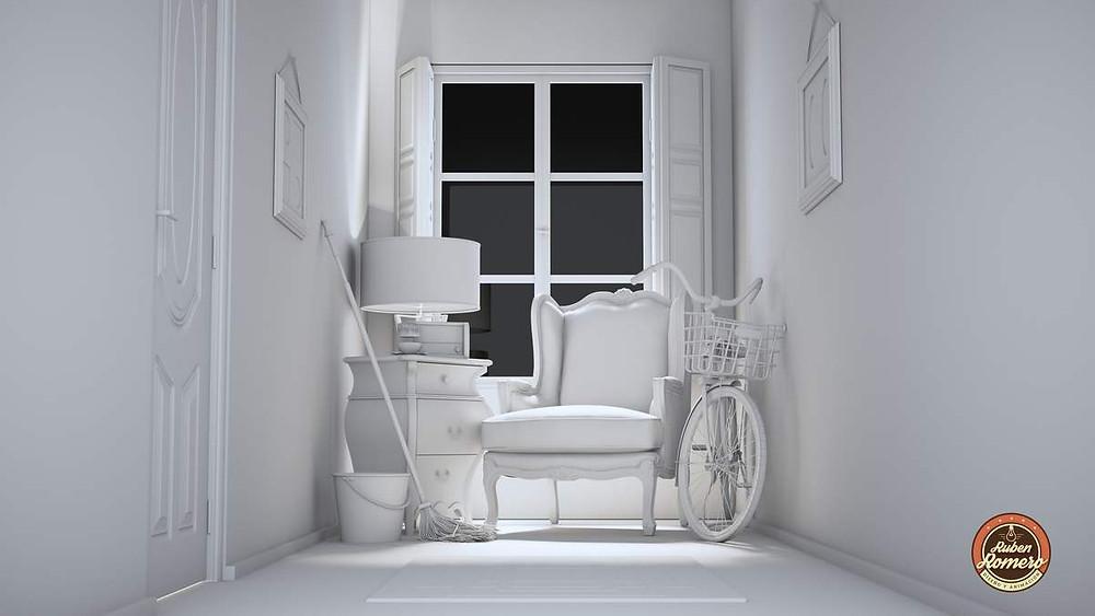 Iluminacion fotorrealista para escena Casa en las montañas por Ruben Romero Diseño y Animacion