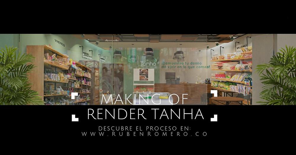 Render arquitectonico conceptual de tienda saludable en Cartagena colombia