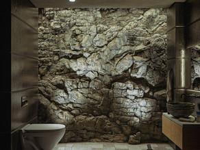 Render de baño rustico