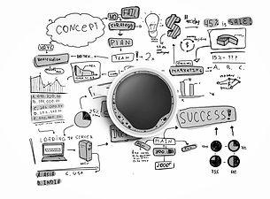 schéma abstrait de concept et plan de succès