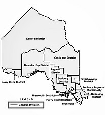 map of northern ontario census divisions