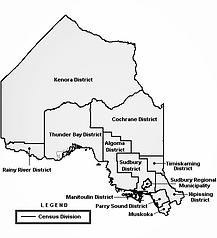 Carte des régions du nord de l'Ontario