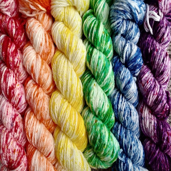 Pride Mini Skein set on Organic Cotton 4ply Fingering Yarn