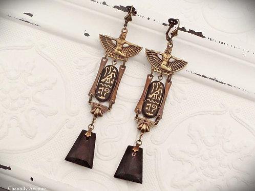 Egyptian Earrings in Matte Black