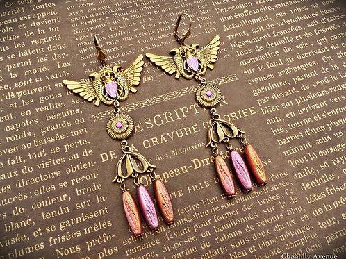 Copper Rose Pink Art Deco Earrings