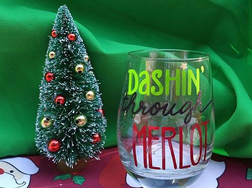 Dashin' Through Merlot Stemless Wine Glass