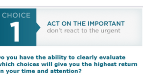 """Choice 1: """"Act on the Important, Don't React to the Urgent"""" Part 3"""