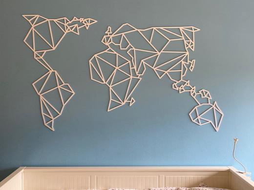 Mapa mundo | Pvc branco recortado na CNC