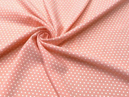 Штапель розовый в горошек