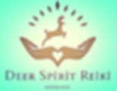The logo for Deer Spirit Healing which, icludes a deer, two open hands and a heart.