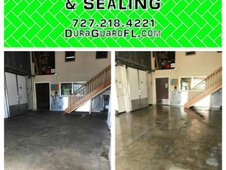 Cleaning & sealing the concrete floors in Whitney & Sons fish processing facility