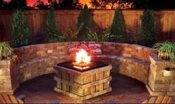 fire pit seating area bench pavers