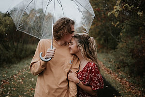 Rainy Couples session with clear umbrella