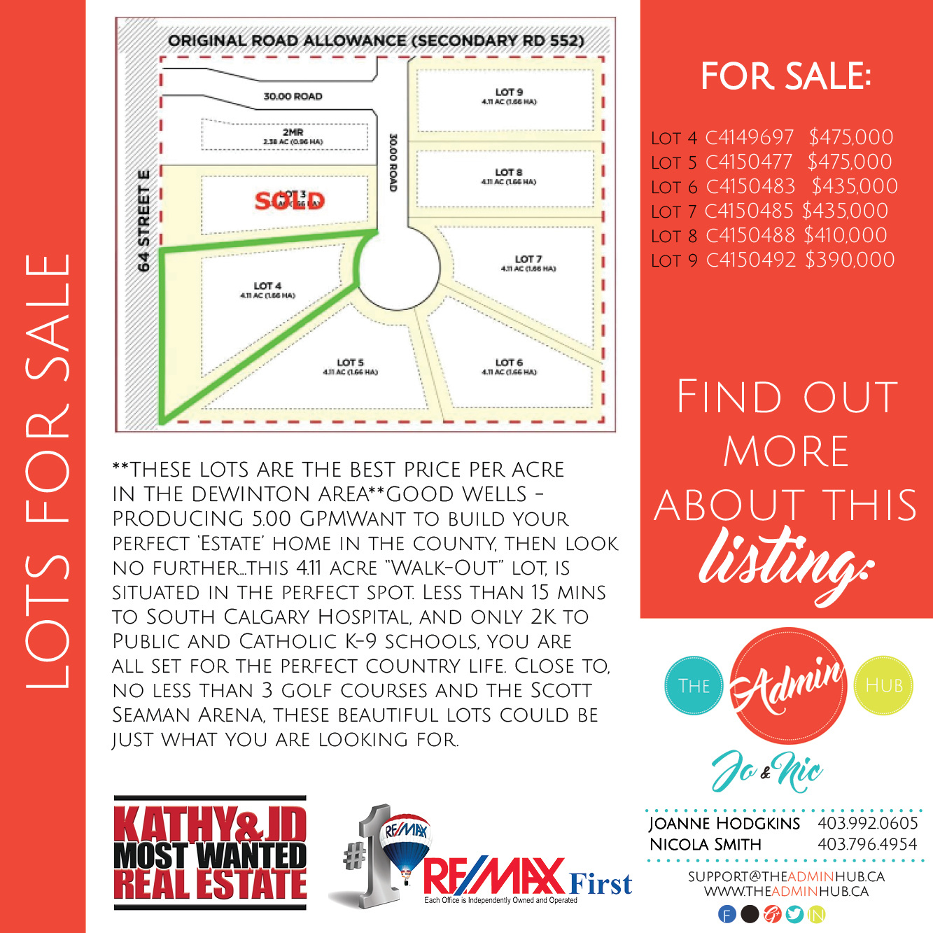 Multiple lots for sale: DeWinton