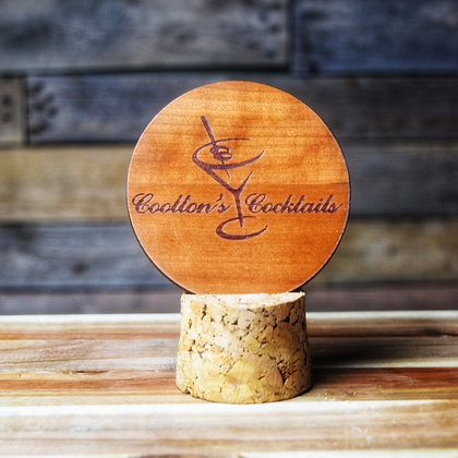 Stained Cherry Wooden Engraved Coaster