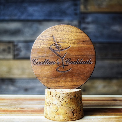 Stained Walnut Wooden Engraved Coaster
