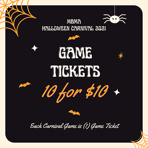 Halloween 10 Game Tickets for $10