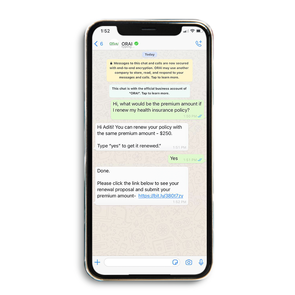 Sample Automated WhatsApp Chat for Insurance Industry on ORAI's blog