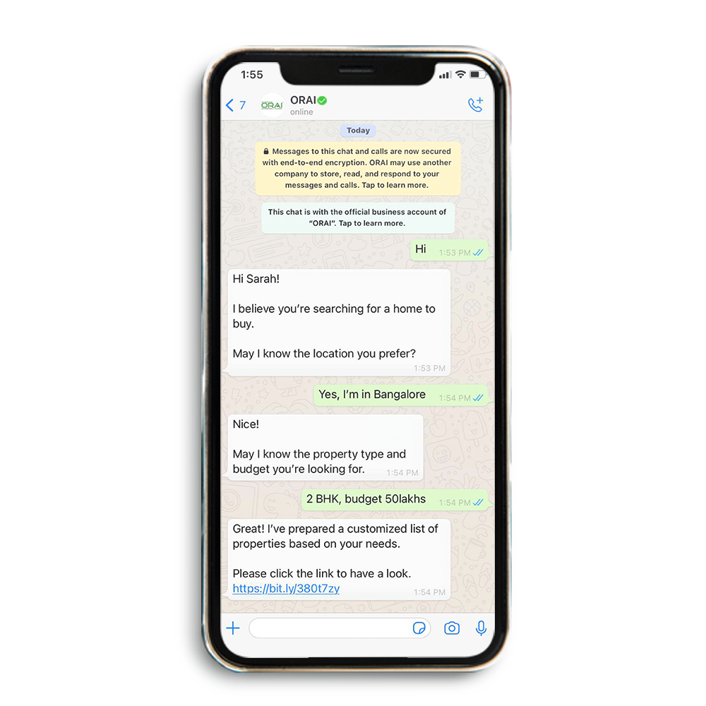 Sample Automated WhatsApp Chat for Real Estate Industry on ORAI's blog