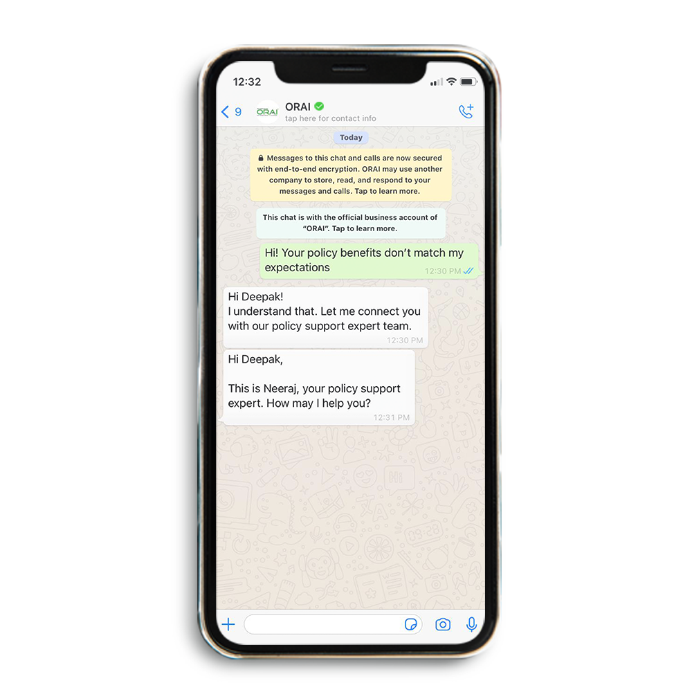 ORAI's sample chat image, showing a seamless bot-to-human handover