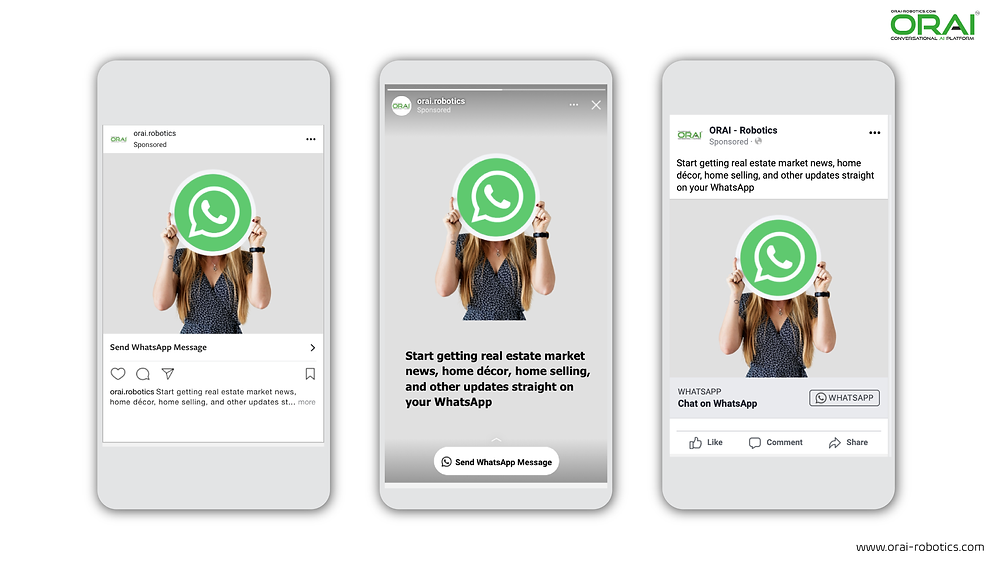 Click-to-WhatsApp ads on Facebook & Instagram using ORAI's AI portal on WhatsApp for your real estate business