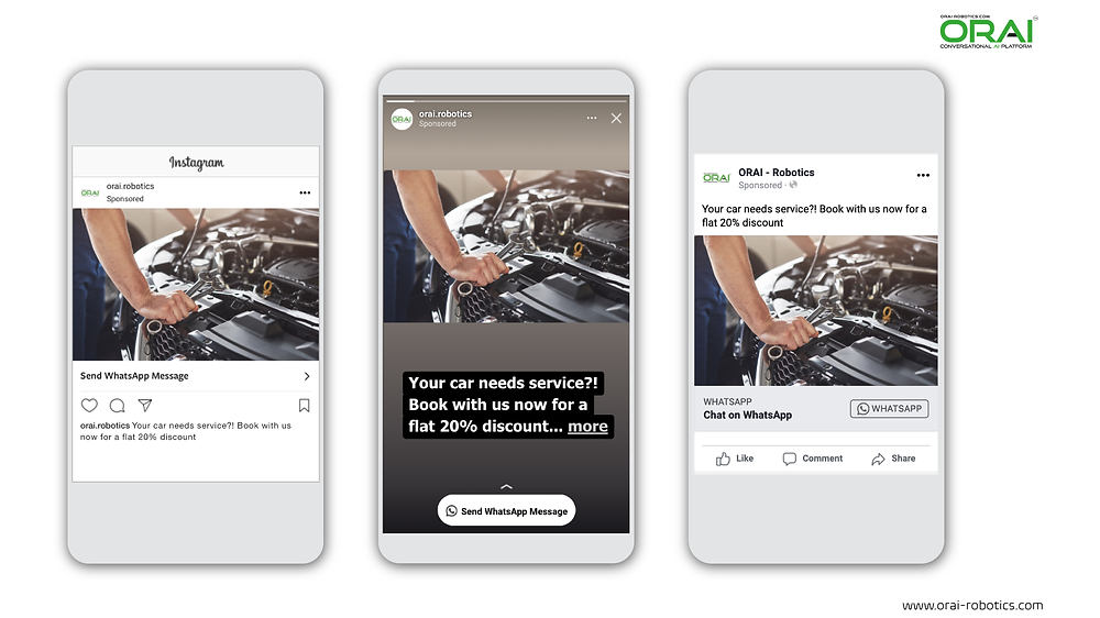 Click-to-WhatsApp ad on Facebook & Instagram stories and feed for car servicing using ORAI's AI portal on WhatsApp