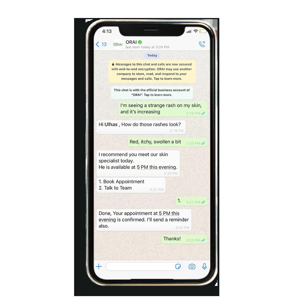 Sample WhatsApp chat for healthcare organisation on ORAI's AI portal