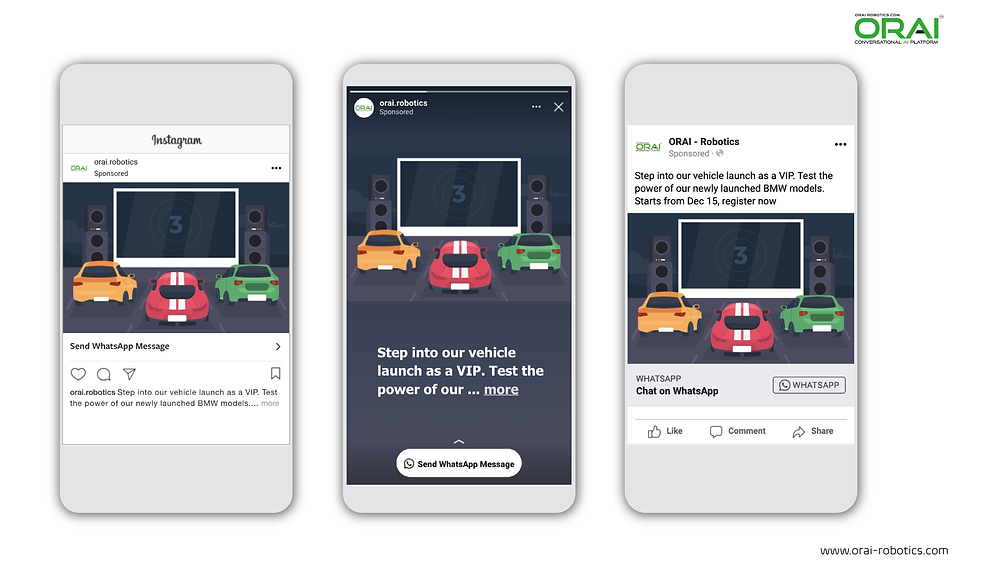 Click-to-WhatsApp ad on Facebook & Instagram stories and feed to get more registrations for your car launch event using ORAI's AI portal on WhatsApp