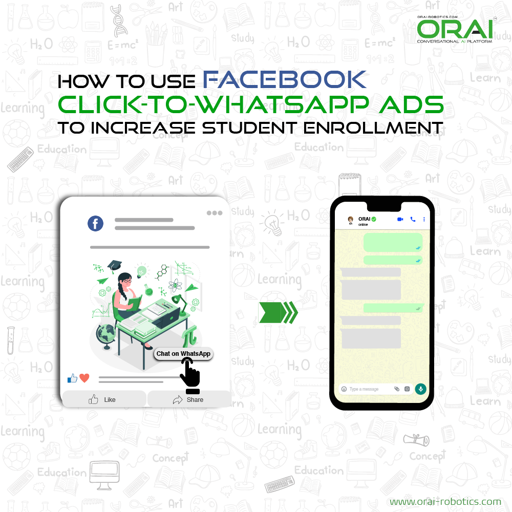 Click-to-WhatsApp ads on Facebook & Instagram using ORAI's AI portal on WhatsApp to increase student enrollment