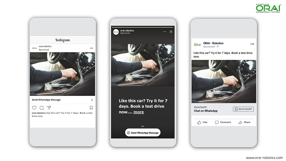 Click-to-WhatsApp ad on Facebook & Instagram stories and feed to book a test drive using ORAI's AI portal on WhatsApp