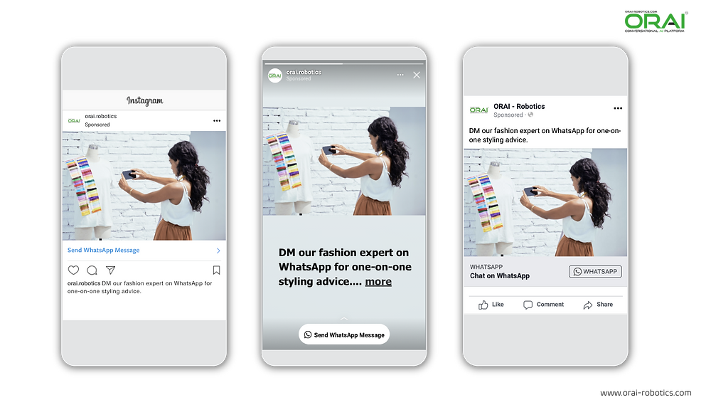 ORAI helps to get fashion advice from the expert on WhatsApp through it's AI-Powered conversational technology