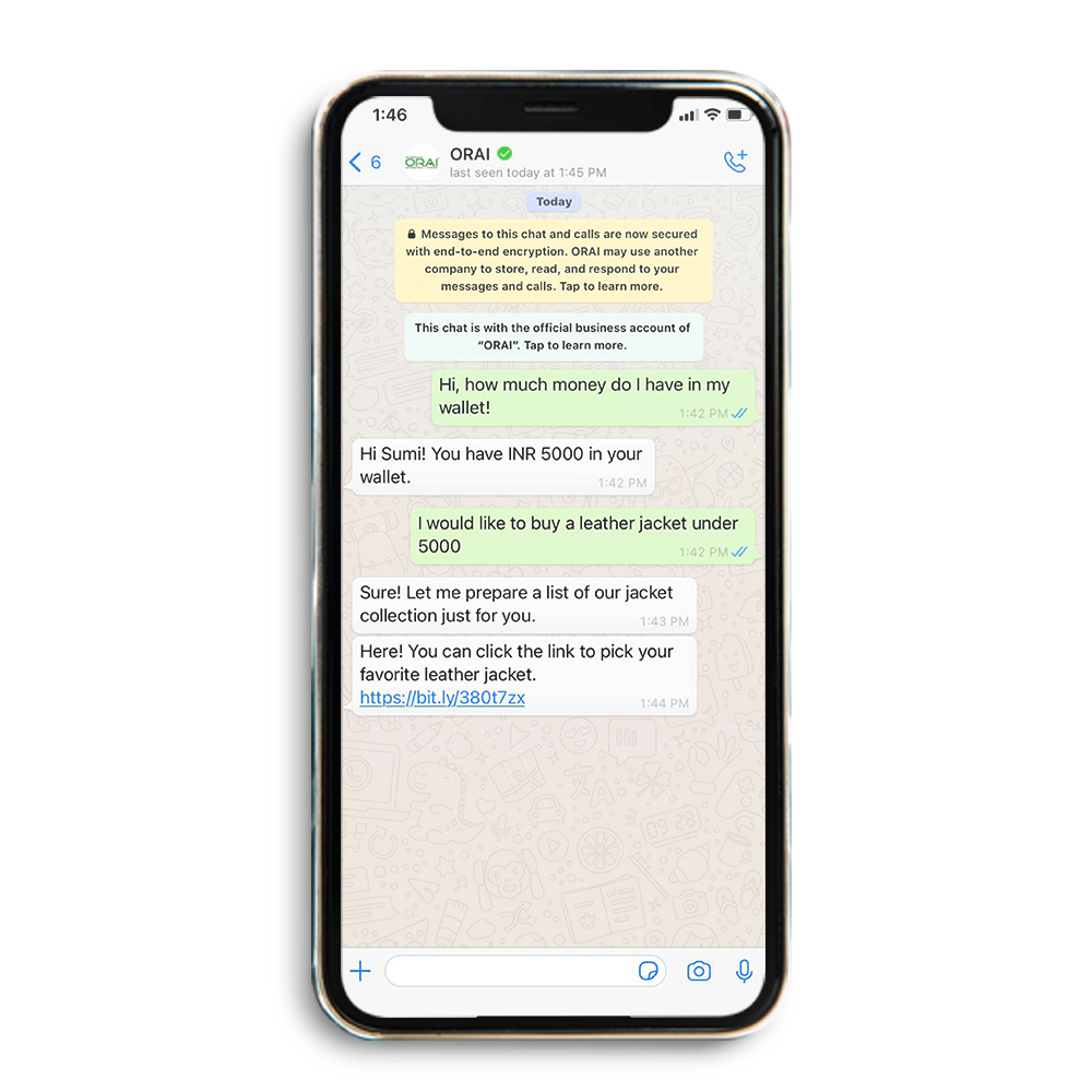 Sample automated WhatsApp chat for E-commerce industry in ORAI's blog